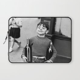 Little Boy and Bottles of Wine, Black and White Vintage Art Laptop Sleeve
