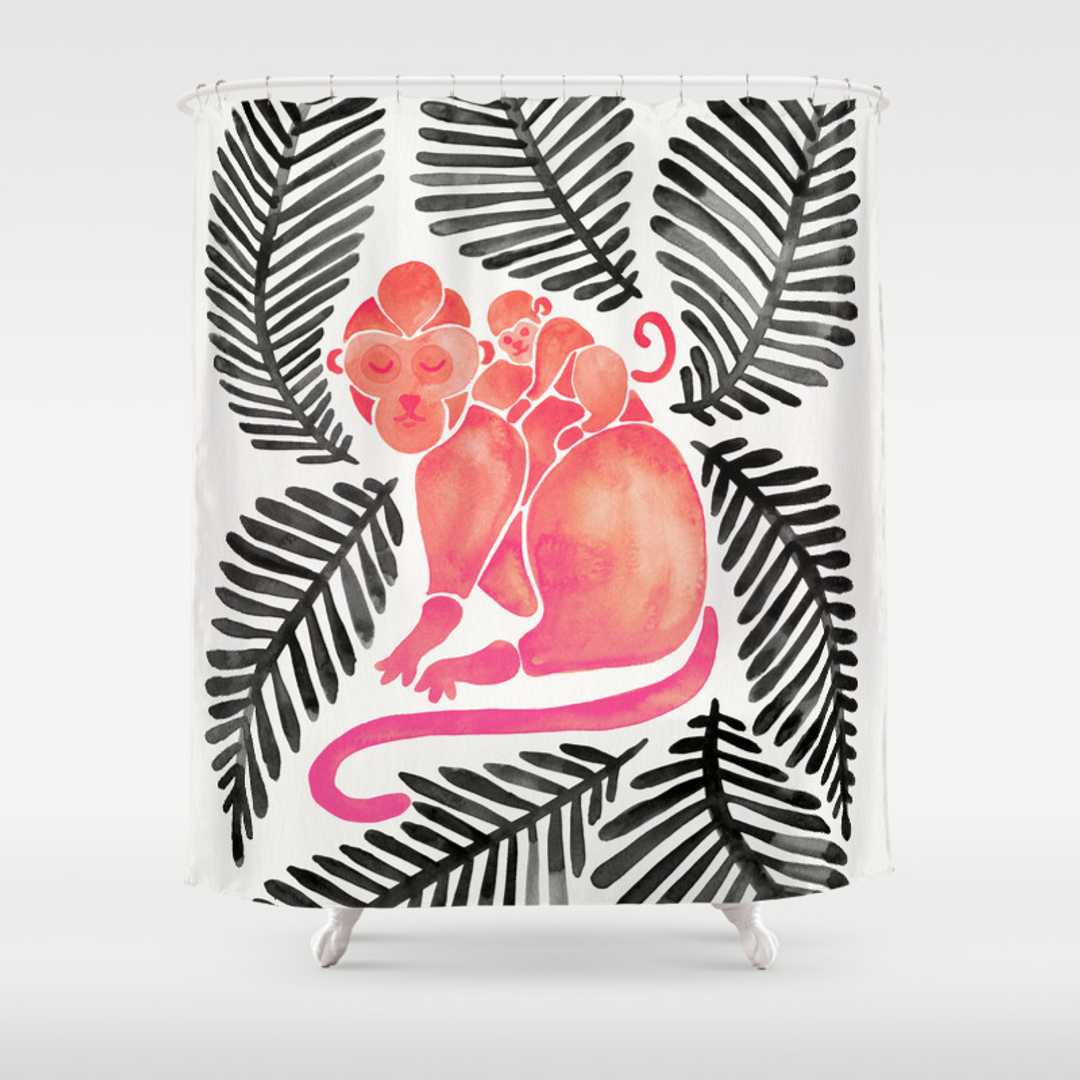 Black And Pink Shower Curtain -