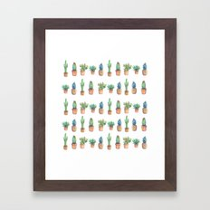 cactus and pineapples white! Framed Art Print