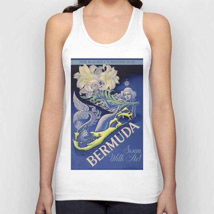 Vintage Mermaid Bermuda Unisex Tank Top