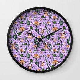 Fennec Foxes in Purple Wall Clock