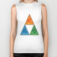 triforce Biker Tanks featuring Zelda Triforce by Bradley Bailey
