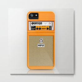 Retro Orange guitar electric amp amplifier iPhone 4 4s 5 5s 5c, ipad, tshirt, mugs and pillow case Metal Print