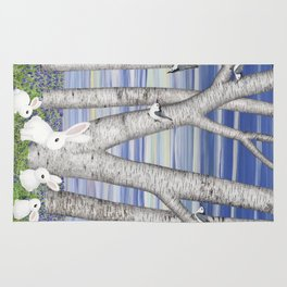 nuthatches, bunnies, and birches Rug