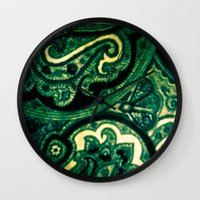 paisley Wall Clocks featuring Paisley by Kim Ramage