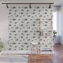 Helicopters on Linen White Wall Mural