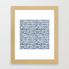 Hand Written Sheet Music // Light Blue Framed Art Print