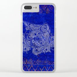 (N20) Tribal Cute Cat Hand Drawing, Traditonal Moroccan Carpet Background Clear iPhone Case