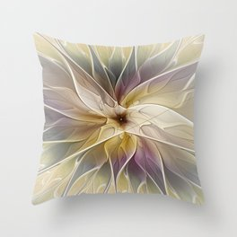 Floral Fantasy, Abstract Fractal Art Throw Pillow