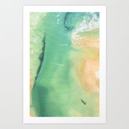 Aerial Kite Surfers, Hayle, Cornwall Art Print