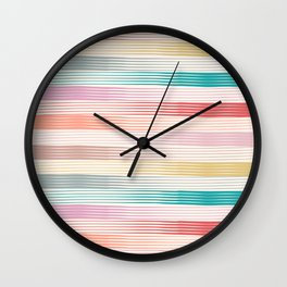 Summer Stripes Brushes Texture Line Art Style 1 Wall Clock