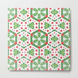 Holly Jolly Christmas Wreath Mandala (Small Pattern) Metal Print