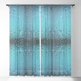 Stylish Cool Blue water drops Sheer Curtain