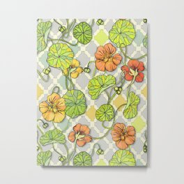 Climbing Nasturtiums in Lemon, Lime and Tangerine Metal Print