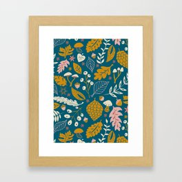 Fall Foliage in Blue and Gold Framed Art Print