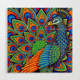 Colorful Paisley Peacock Rainbow Bird Wood Wall Art