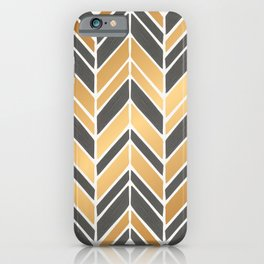 Intermittent Herringbone – Gold & Grey iPhone Case