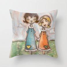 A Childhood Shared - Sister Art Throw Pillow
