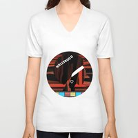 hollywood V-neck T-shirts featuring Hollywood by AndISky