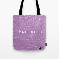 engineer Tote Bags featuring Purple - ENGINEER by Be Raza