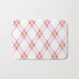 Geometrical pink gold glitter diamond shapes pattern Bath Mat