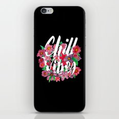 Chill Vibes - Floral Black iPhone & iPod Skin
