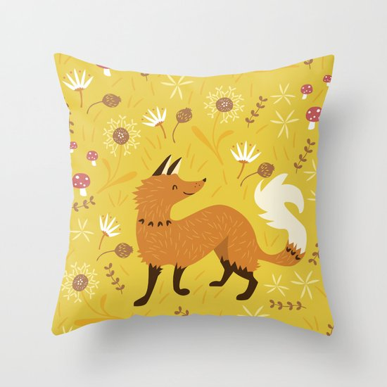 Cute Throw Pillow Society6 : Cute as a Fox Throw Pillow by Poppy & Red Society6
