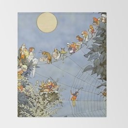 """The Fairy's Birthday"" Illustration by W Heath Robinson Throw Blanket"