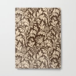 William Morris Thistle Damask, Taupe Tan and Beige Metal Print
