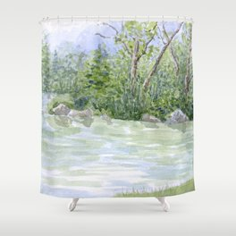 Lake Landscape Watercolor  Shower Curtain