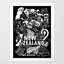 Kiwiana Doodle - Dark Art Print