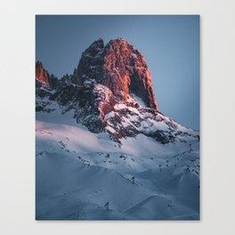 Last sunray on french alps mountain in chamonix Canvas Print