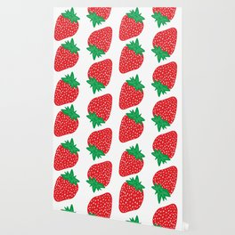 Cream Strawberries Pattern Wallpaper