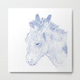 donkey drawing, blue Metal Print