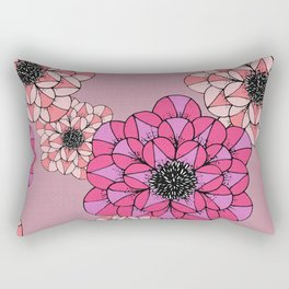 Pink Abstract Flowers Sketch Illustrated Pattern Rectangular Pillow