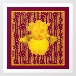 Burgundy Color Yellow Iris Deco Pattern Art Art Print