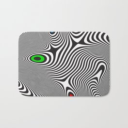 Black wavy lines color accents Bath Mat