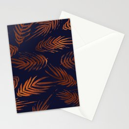 Navy and Copper Tropical Leaves Stationery Cards