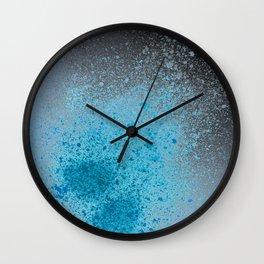 Blue and Black Spray Paint Splatter Wall Clock