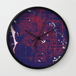 Fort Collins, CO, USA, Blue, White, City, Map Wall Clock