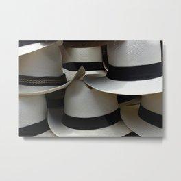 White Panama Hats Metal Print