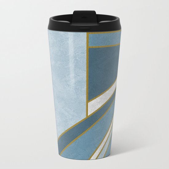 Travel to nowhere in blue (abstract geometric marble) Metal Travel Mug
