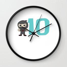Birthday Ninja Party 10th Samurai Ninjas Gift Japanese Ninja stars Fighter Gift Wall Clock