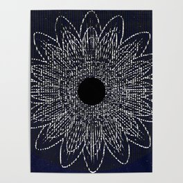 Flor Universo Negro Poster