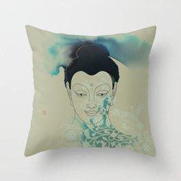 Blue Gautama Buddha Throw Pillow