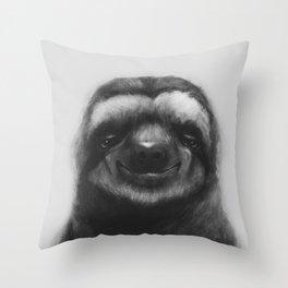 Sloth #1 (B&W) Throw Pillow