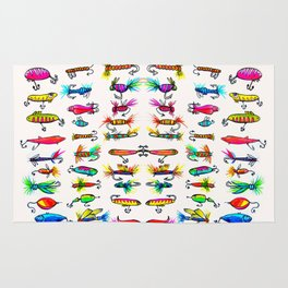All the Fishing Lures - Illustration Rug