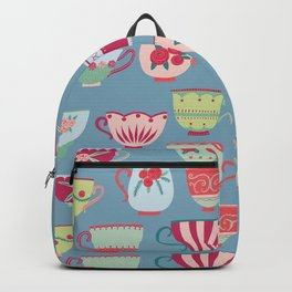 China Teacups on Teal Backpack