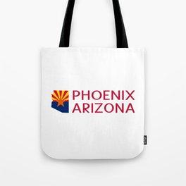 Arizona: Phoenix (State Shape & Flag) Tote Bag