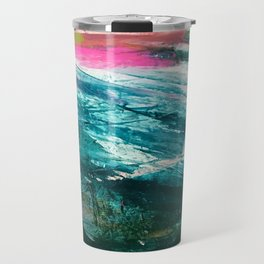 Meditate [4]: a vibrant, colorful abstract piece in bright green, teal, pink, orange, and white Travel Mug